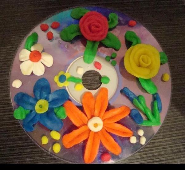 Цветы из дисков на открытку