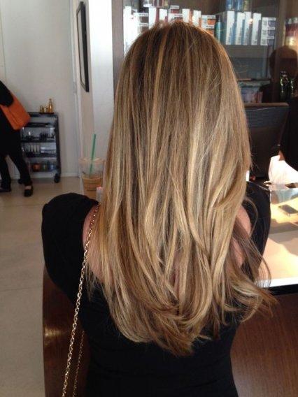 Балаяж на прямые русые волосы фото