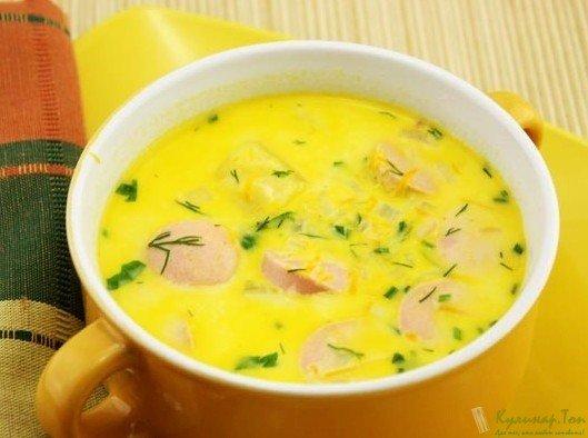 Сырный суп с сосисками рецепт с фото