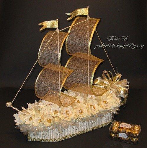 Корабль из конфет фото своими руками