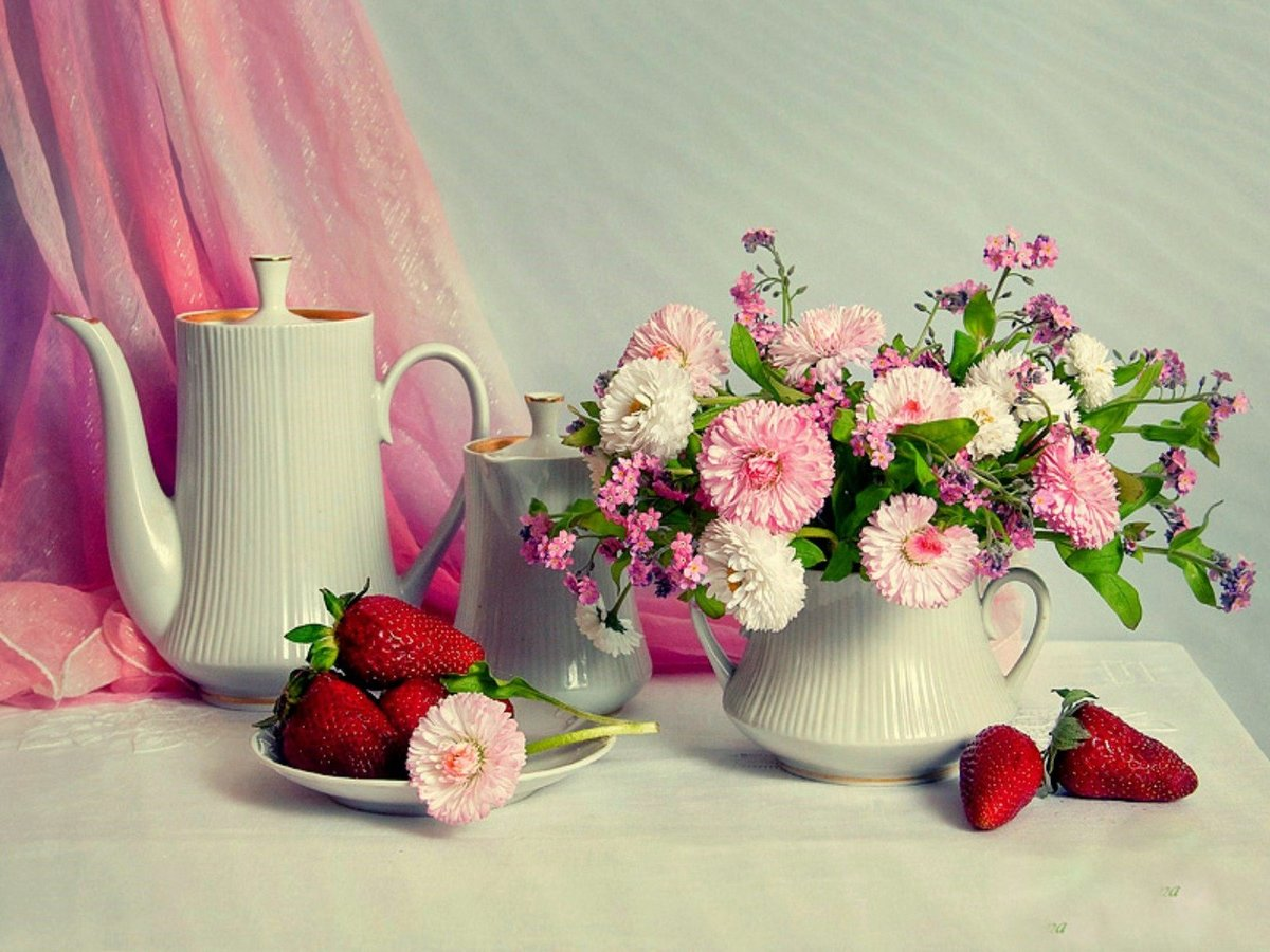 Картинки нарисованные, красивые открытки с добрым днем и цветы