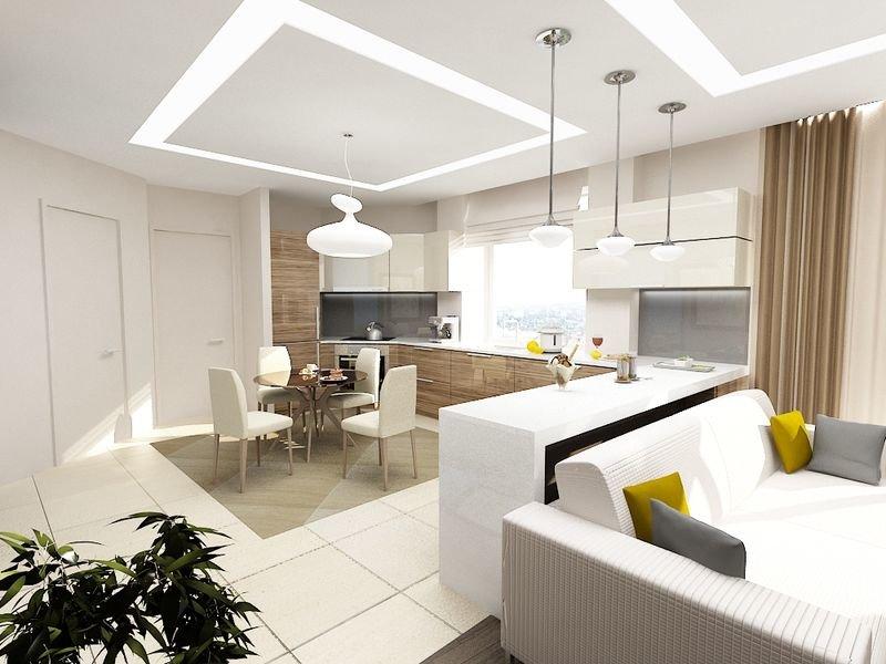 Дизайн проект гостиной совмещенной с кухней фото