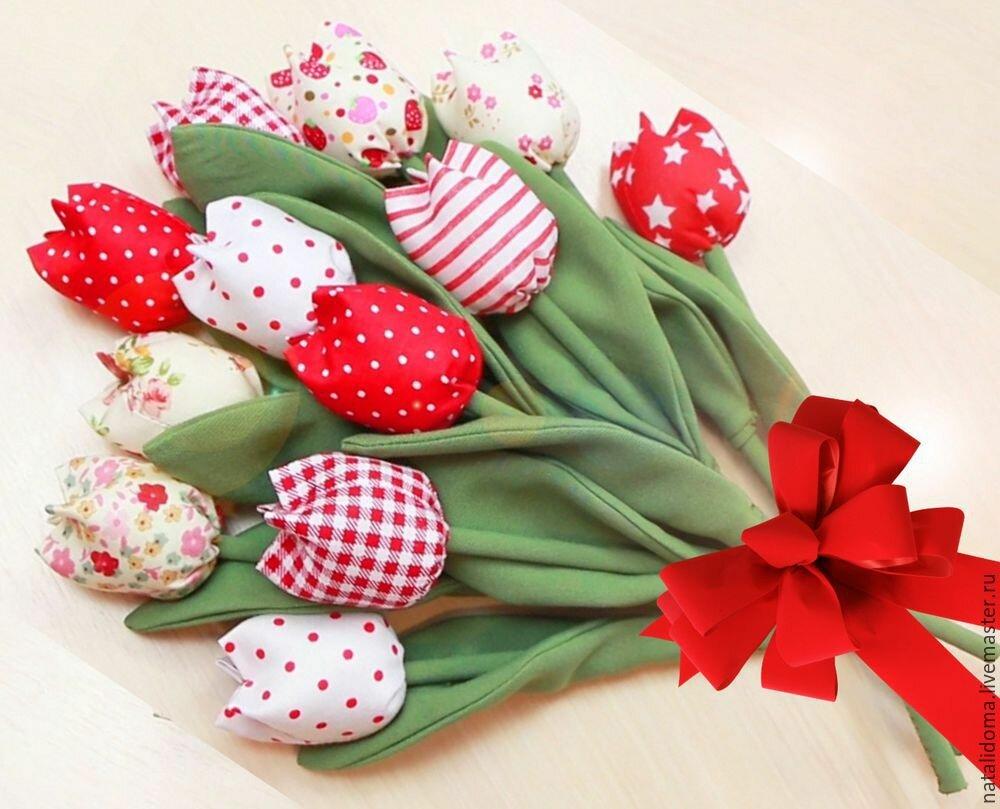 Свадебный, букет тюльпанов из ткани своими руками