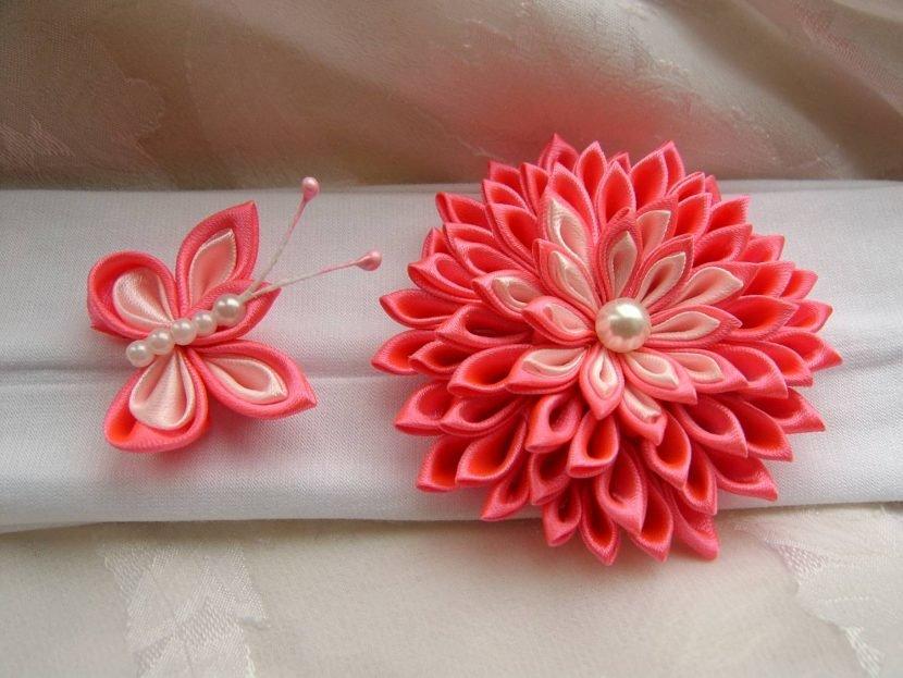Заказать цветы из ленты мк канзаши, цветок букет магазин