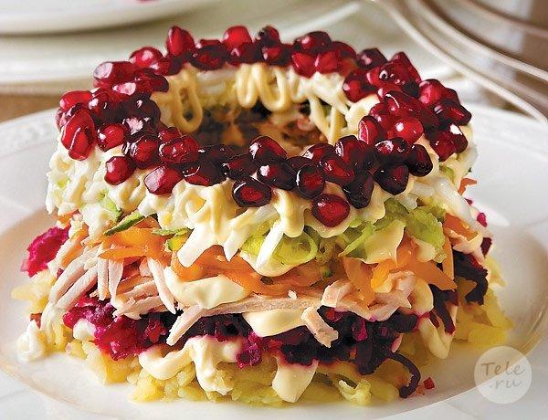 Гранатовый салат с курицей рецепт с фото