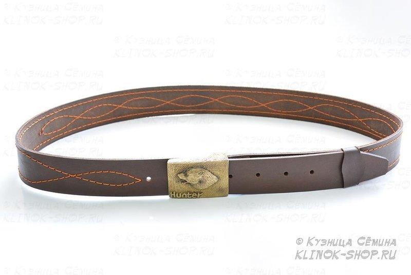 Ремень поясной охотничий «Хантер» - натуральная кожа с пряжкой из художественного литья