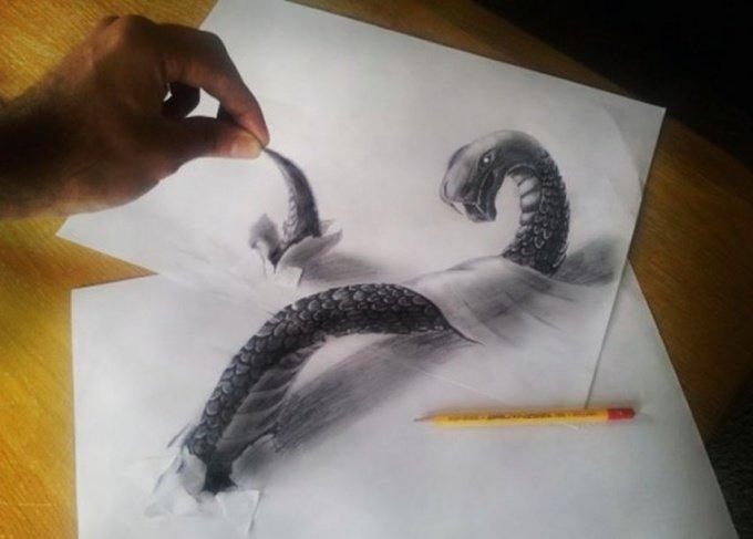3D рисунки на бумаге и асфальте