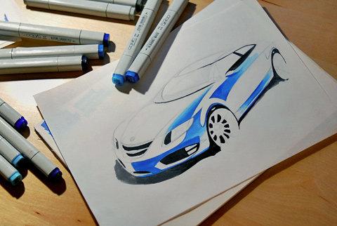 Автомобиль Saab рисуем маркером - Уроки рисования