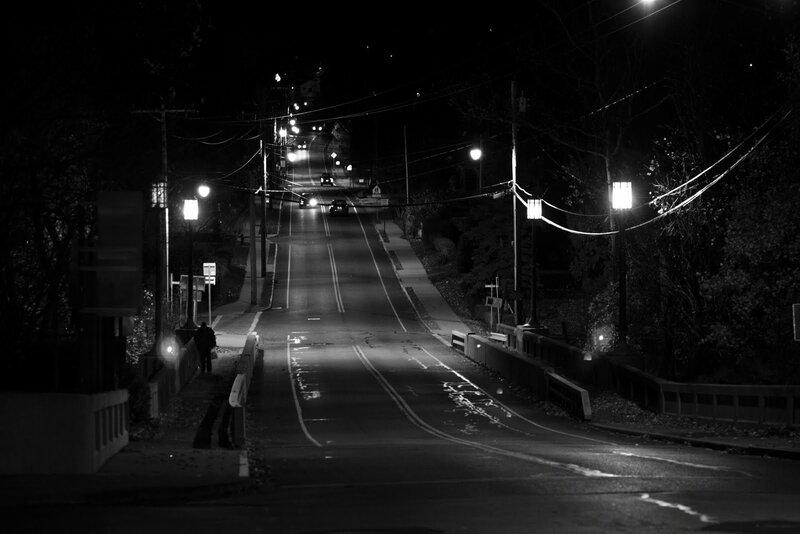 Чёрно-белые фото ночью