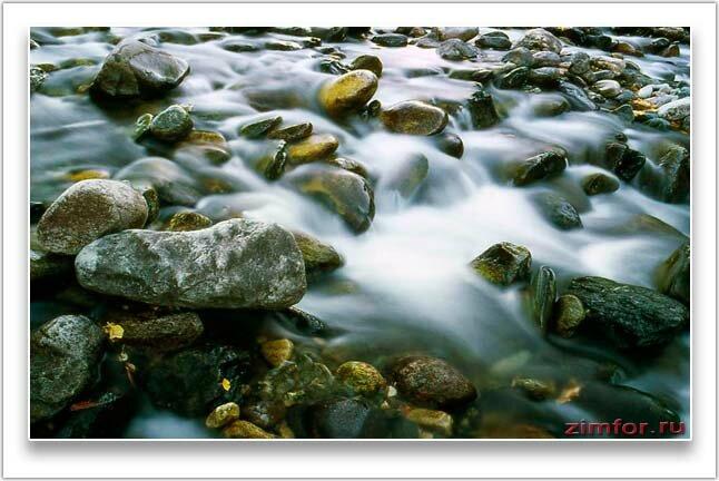 Фотосъёмка горной реки на длительной выдержке