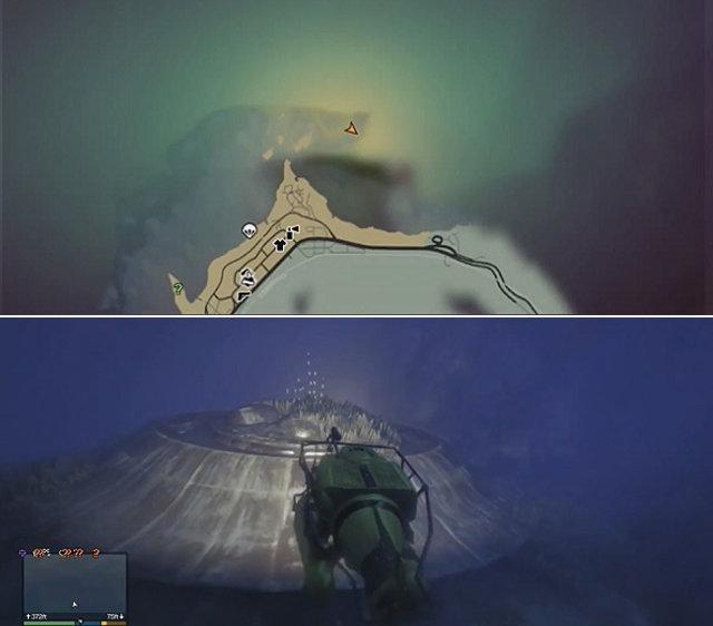 GTA 5, затонувший корабль пришельцев