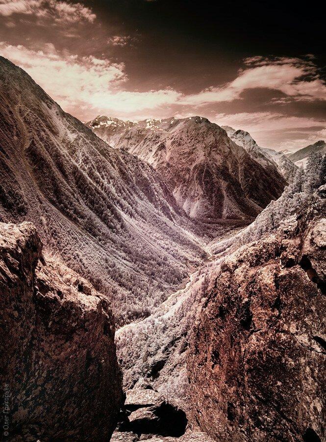 Кавказские горы в инфракрасном спектре