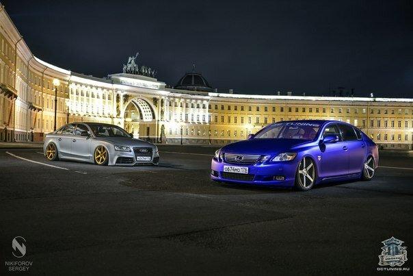 Lexus gs300 в сапфировом матовом хроме от DC Tuning и Audi A4 в...