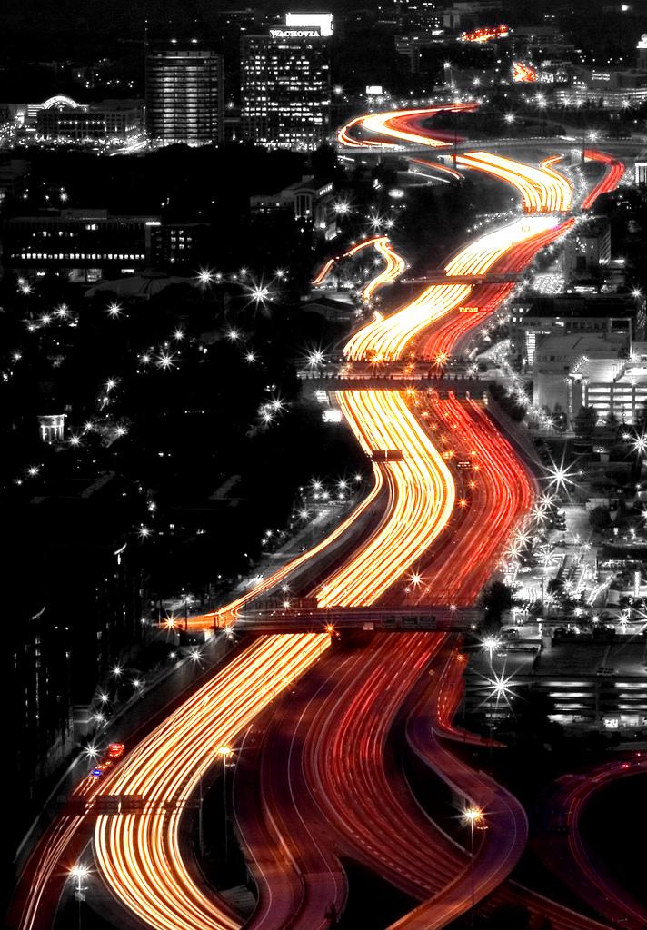 Ночной трафик на длинной выдержке
