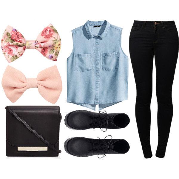 a07cfcfee884 Вдохновляющая картинка аксессуары, сумка, блузка, ботинки, бант, одежда,  джинсовые вещи
