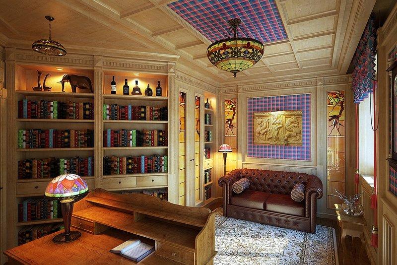 Классическая строгая мебель кабинета в частном доме