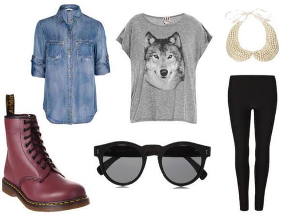 Черные легинсы, серая футболка + джинсовая рубашка и ботинки