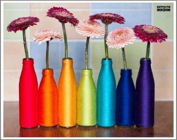 Делаем радужные вазы
