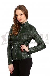 Фото Женская кожаная куртка из высококачественной кожи зеленого цвета на молнии