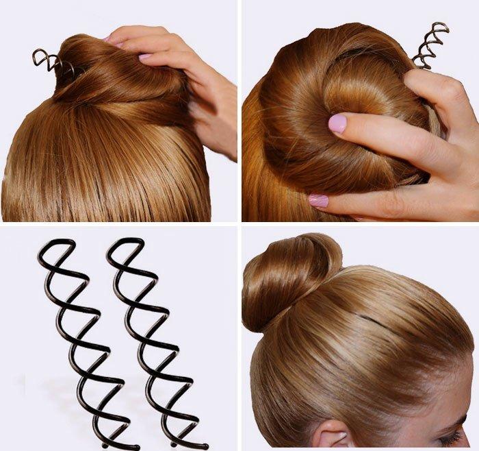 Используйте спиральные шпильки вместо обыкновенных, чтобы хорошо зафиксировать прическу из густых или непослушных волос.