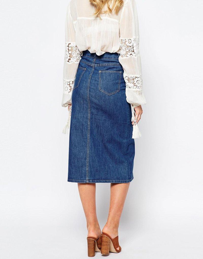 Изображение 2 из Джинсовая юбка миди First & I