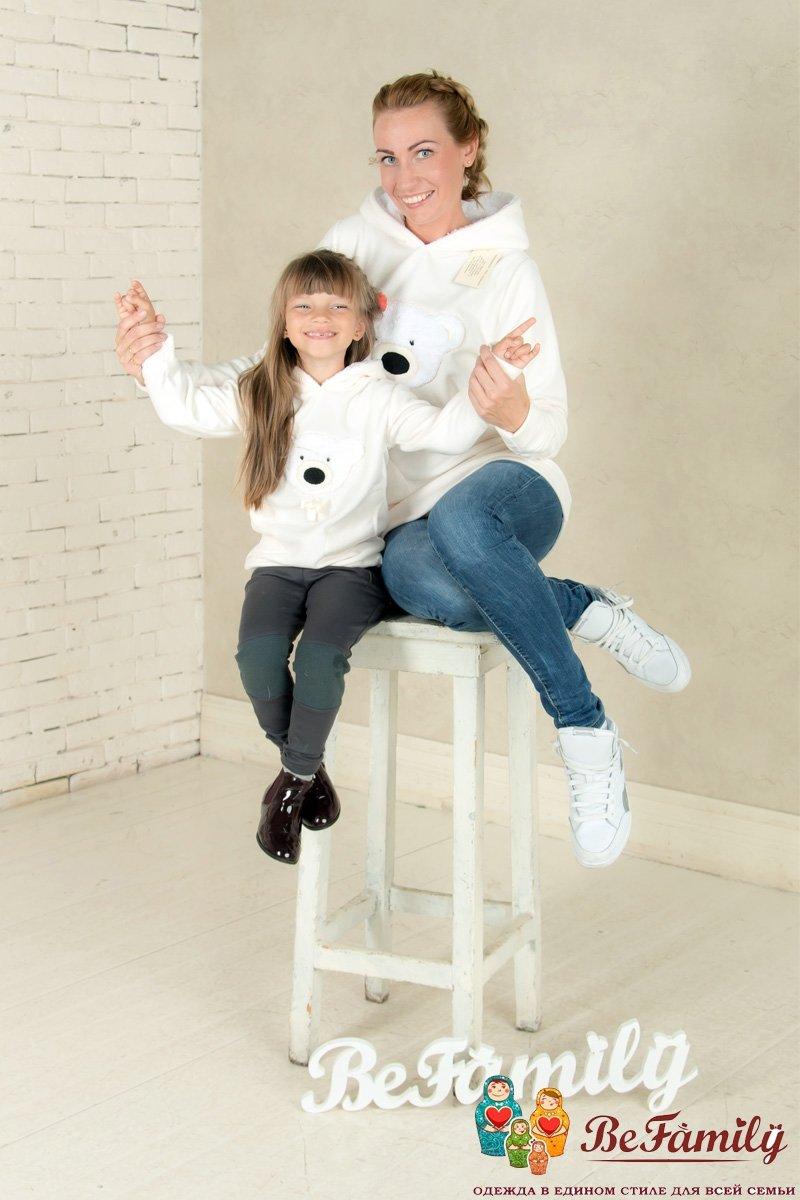 Комплект худи Белый с мишкой купить в интернет-магазине. Одежда Для мамы и сына, продажа, цены