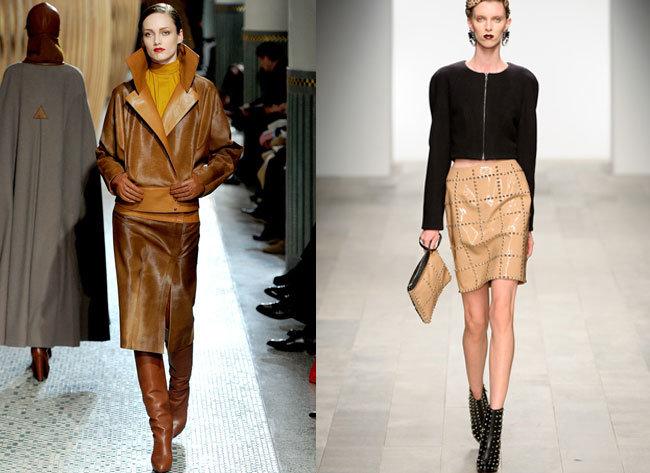 Кожаная юбка – 2015-2016, фото. С чем правильно носить кожаную юбку.