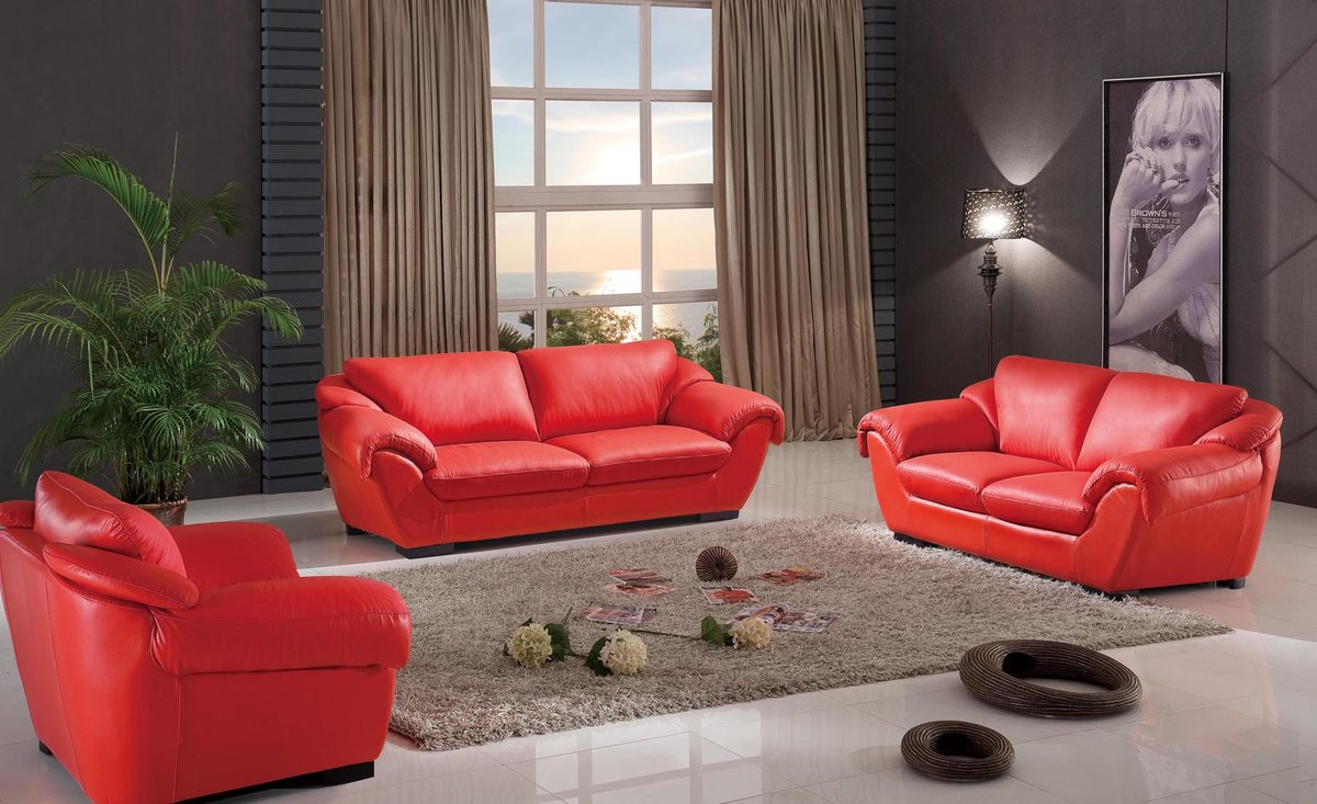Living Room Ideas: Red Sofas And Chair With Grey Soft Carpet On White .