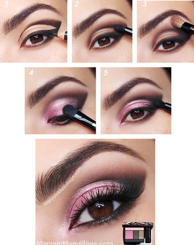 макияж для карих глаз пошагово розовые тени
