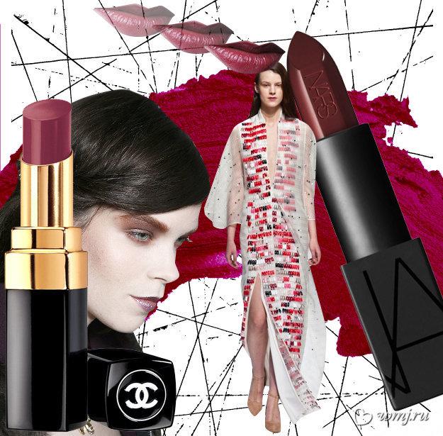 Модная съемка; помада NARS Audacious Lipstick Collection в оттенке Bette Bordeaux, ориентировочная стоимость — 1 280 руб.; помада Chanel Rouge Coco Shine в оттенке 92 ?motion, ориентировочная стоимость — 1 400 руб.