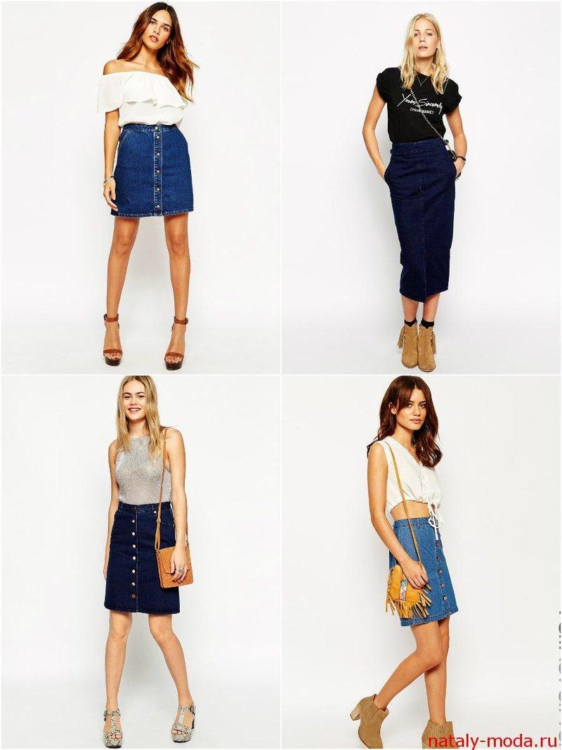 Модные джинсовые юбки 2015 фото
