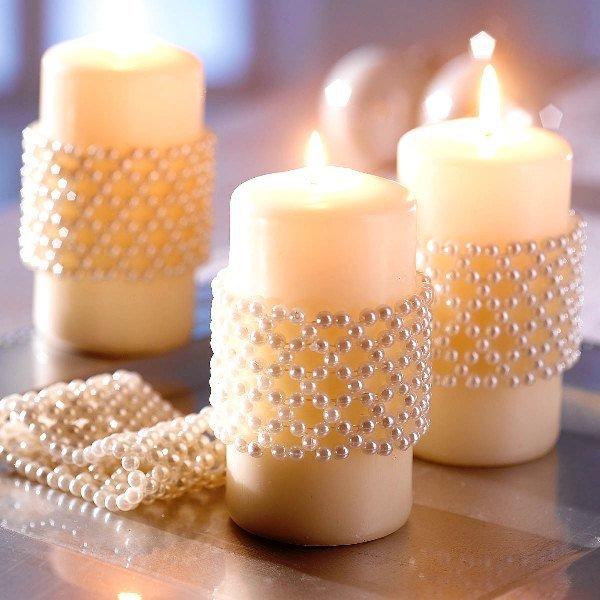 новогодние свечи, украшенные бисером