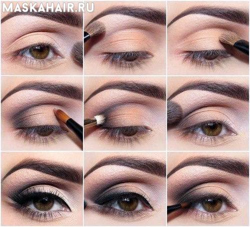 пошаговый макияж для серо зеленых глаз