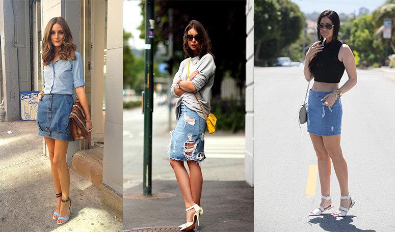 Различные варианты носки джинсовой юбки