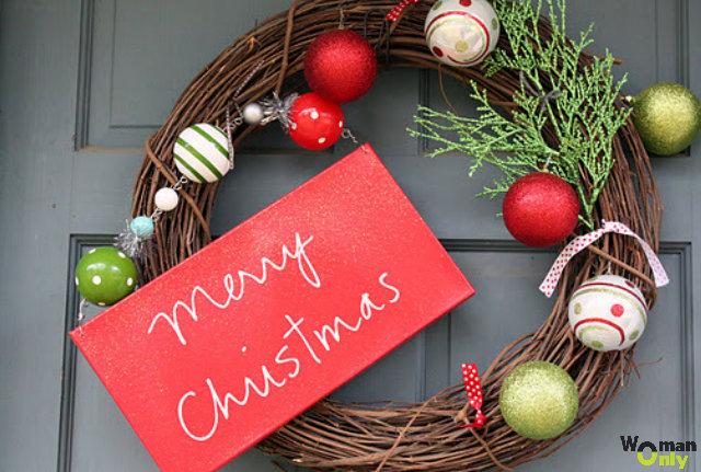 Рождественские венки на дверь своими руками:
