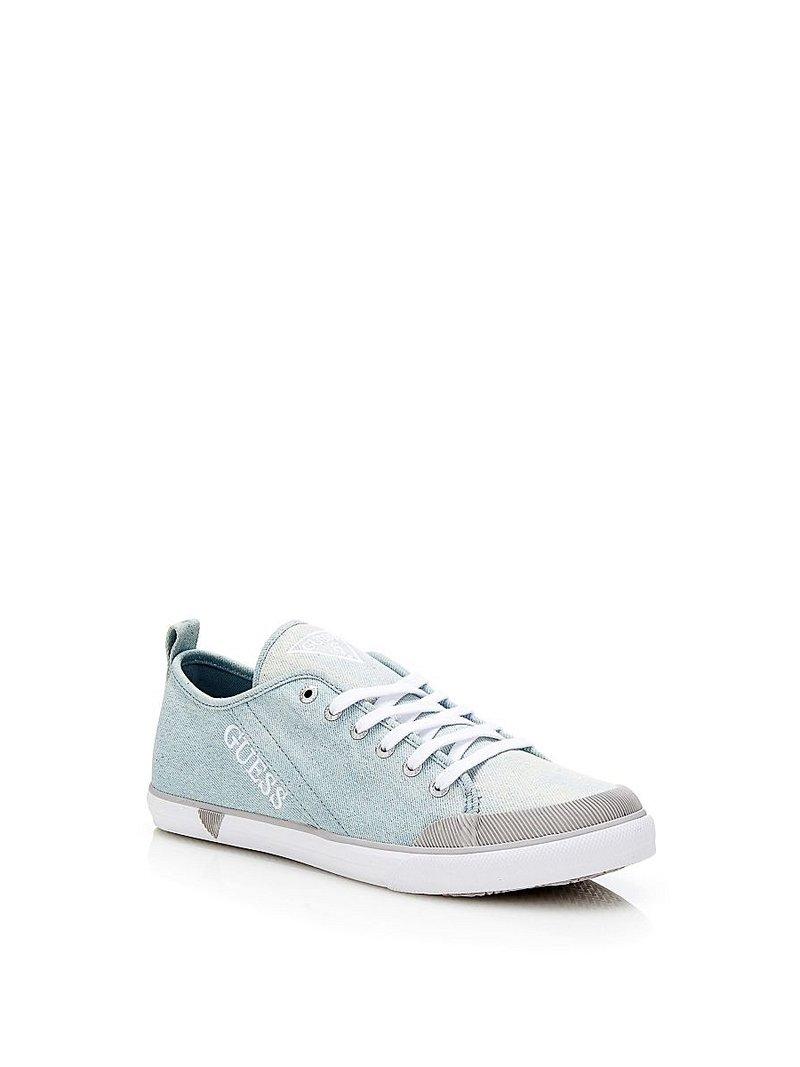 Женские голубые кеды на каблуках GUESS