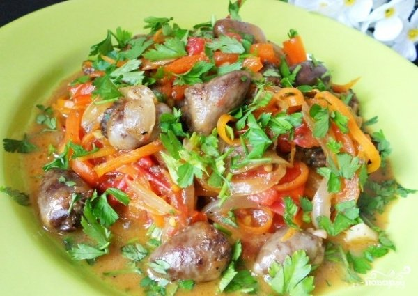 куриные сердечки с овощами рецепт с фото