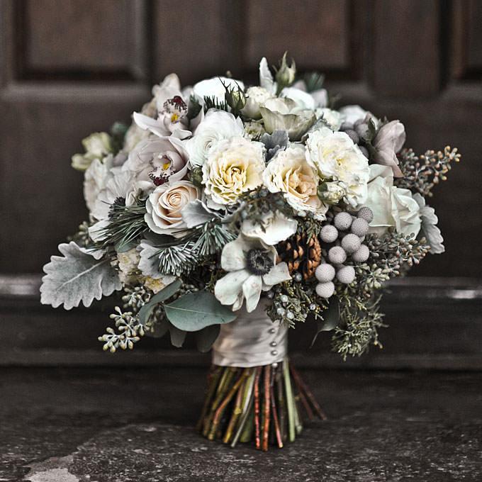 Букет васильками, букет для невесты зима
