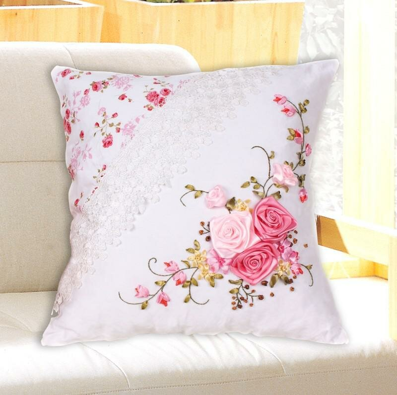 3D Unfinished Ribbons Embroidery Sets Handmade Needlework Embroidery Kits,Rose Flower Cushion Cover Online with $16.24/Piece on Nancyfw's Store | DHgate.com