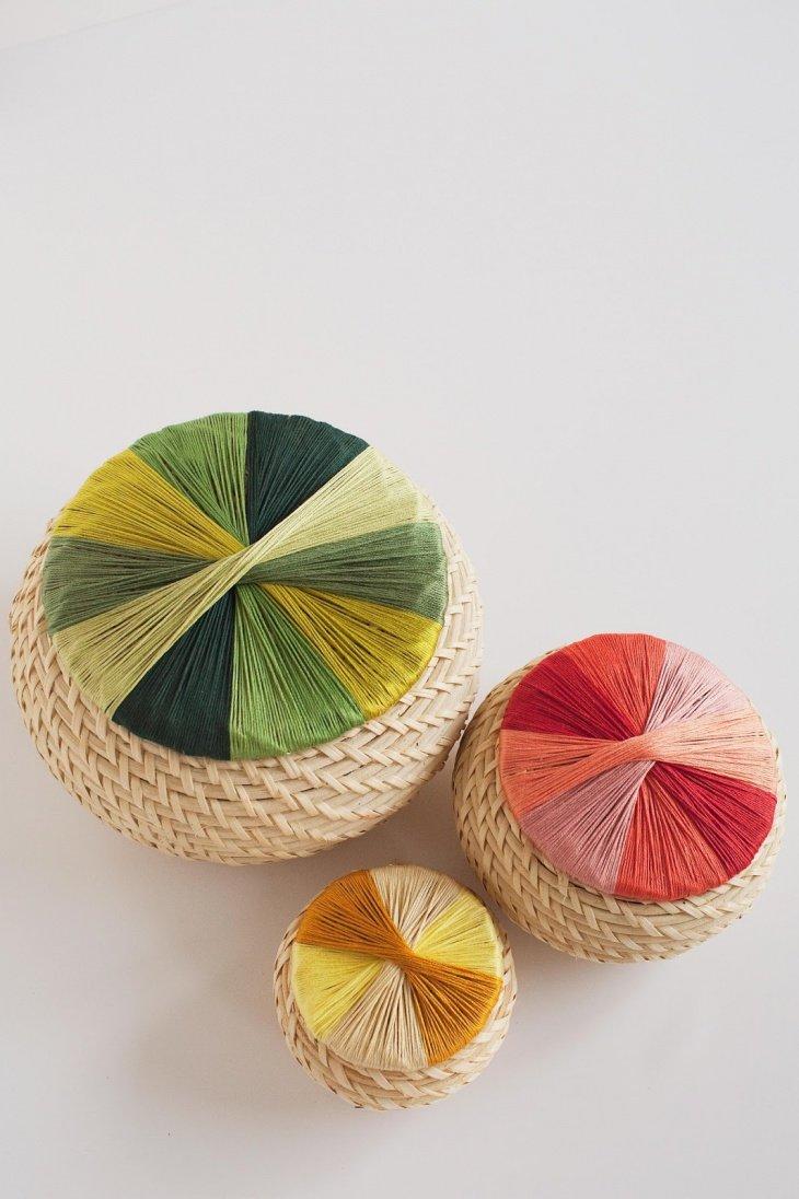 Декор крышки корзины нитками (Diy)