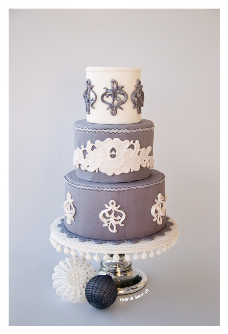 Elegant grey winter cake