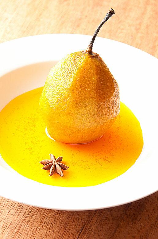 Фото рецепт десерта из груши с шафрановым сиропом