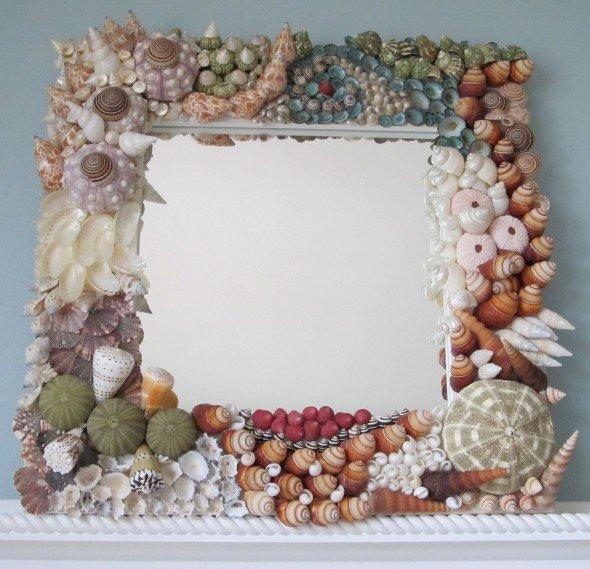 Как украсит зеркало своими руками