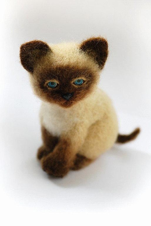 мастер-класс по валянию, игрушка из шерсти, обучение валянию, сухое валяние, валяние из шерсти, научиться валять, котёнок, игрушка котёнок