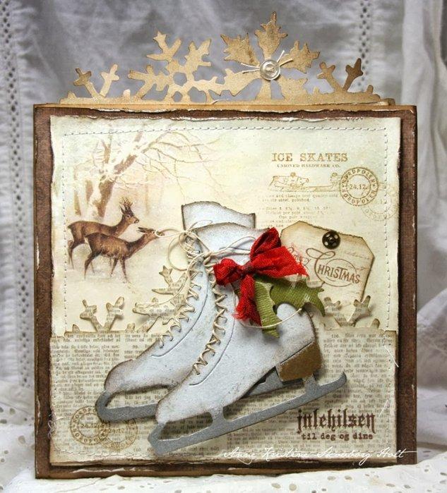 Рождественская открытка с фигурными коньками. Скрапбукинг (8)