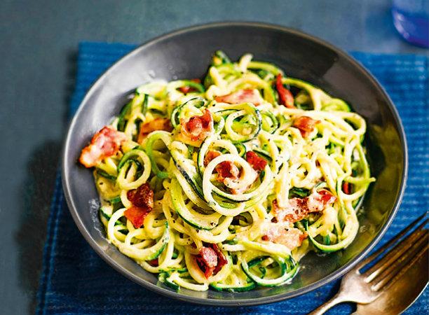 Вместо макарон. Восхитительные спагетти карбонара из цукини