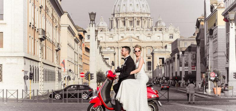 Свадебное путешествие летом в Италию: фотосессия в Риме в июне