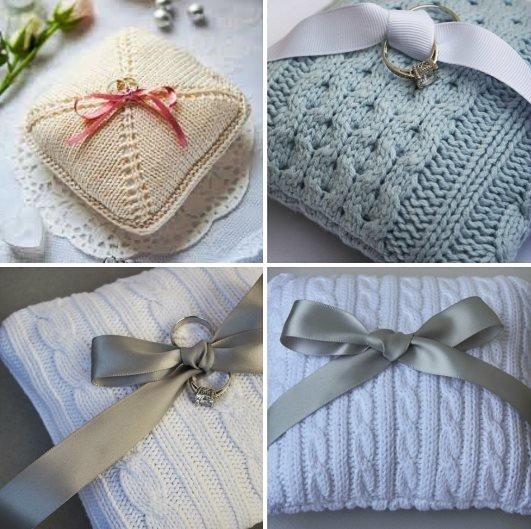 зимняя свадьба-вязаная свадьба зимой-теплая зимняя свадьба-вязаные аксессуары для зимней свадьбы- идеи для вязаной свадьбы-свадьба зимой-теплые аксессуары для зимней свадьбы-подушечки для колец для вязаной свадьбы