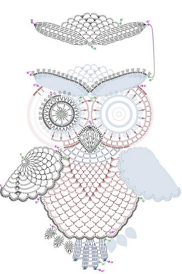 33 совы крючком со схемами и описанием процесса вязания.