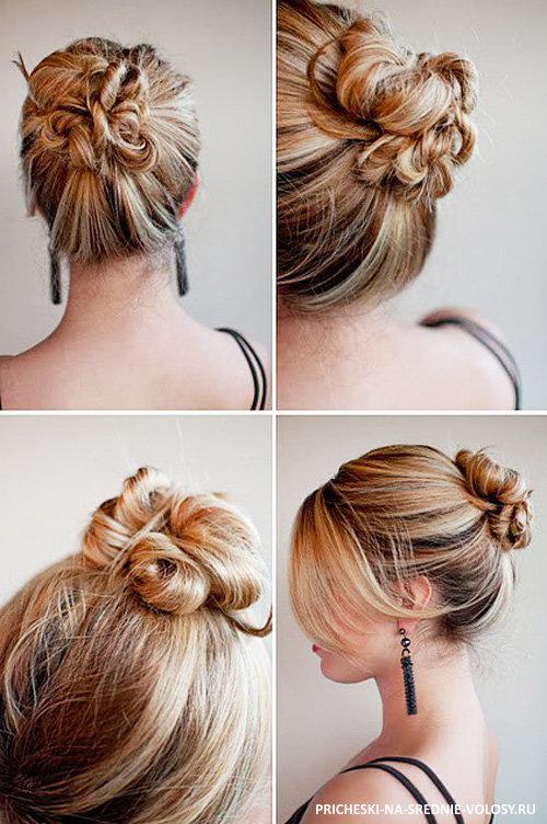 Повседневные прически для средних волос.